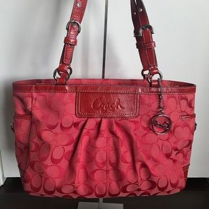 Coach Gallery Pleated M0951-F14281 Cherry Red Tote
